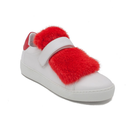 Moncler // Leather Lucie Fur Sneaker // White + Red (US: 5)