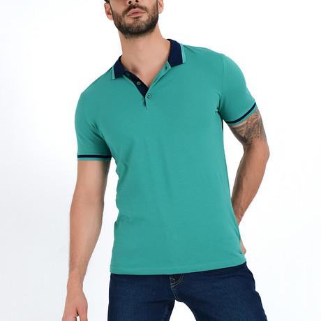 Polo Shirt + Contrast Collar // Green + Navy (S)