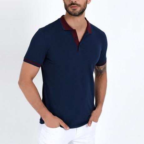 Polo Shirt + Contrast Collar // Navy + Burgundy (S)