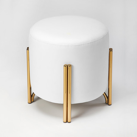 Mormont White Faux Leather Ottoman