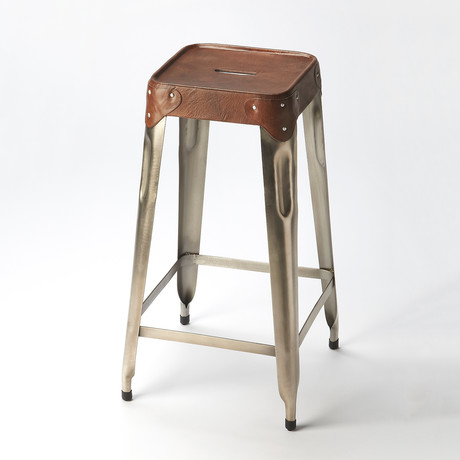 Newsome Iron & Leather Barstool