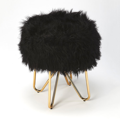 Birjir Black Faux Fur Stool