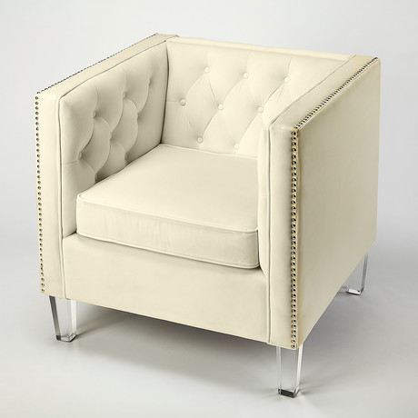 Pierson White Velvet Accent Chair