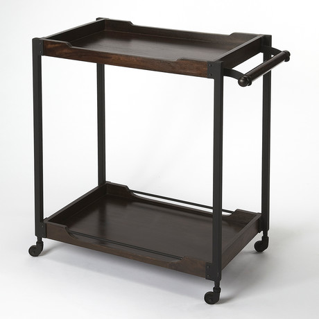 Etienne Wood and Metal Bar Cart
