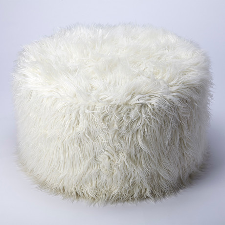 Khione White Faux Fur Ottoman