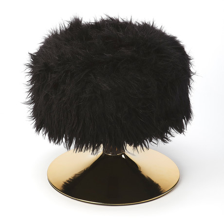 Miguel Faux Fur Stool Black