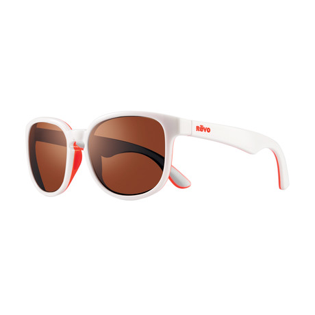 Kash Polarized Sunglasses (White + Coral Frame + Graphite Lens)