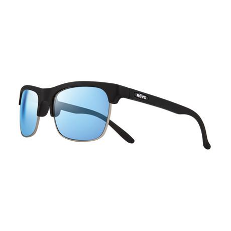 Unisex Ryland Polarized Sunglasses // Matte Black + Blue Water