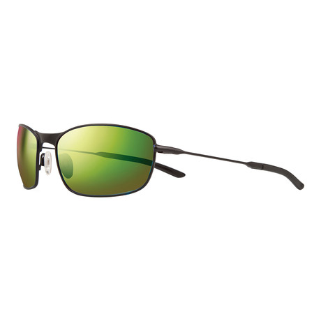 Unisex Thin Shot Polarized Sunglasses // Matte Black + Green Water Lens