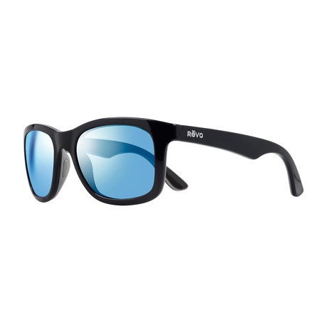 Unisex Huddie Polarized Sunglasses // Shiny Black, Gray, Black + Blue Water Lens
