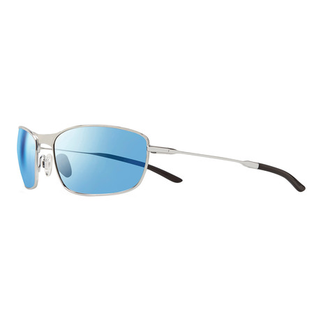 Unisex Thin Shot Polarized Sunglasses // Chrome + Blue Water