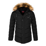Parka Fur Hooded Winter Coat // Black (S)