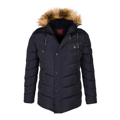 Fur Hooded Down Winter Coat // Navy (S)