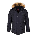 Fur Hooded Down Winter Coat // Navy (L)