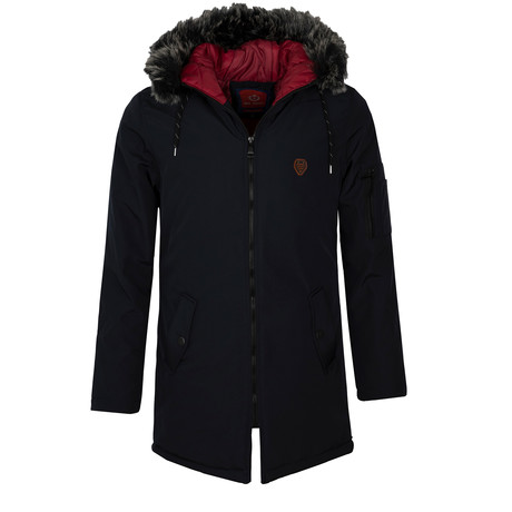 Fur Hooded Winter Coat // Navy (S)