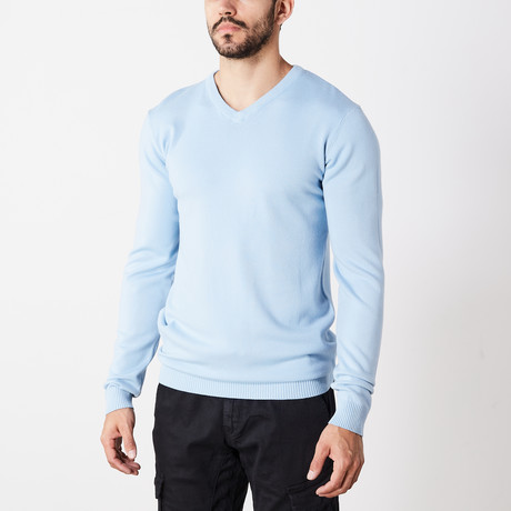 Slim V-Neck Sweater // Powder Blue (S)