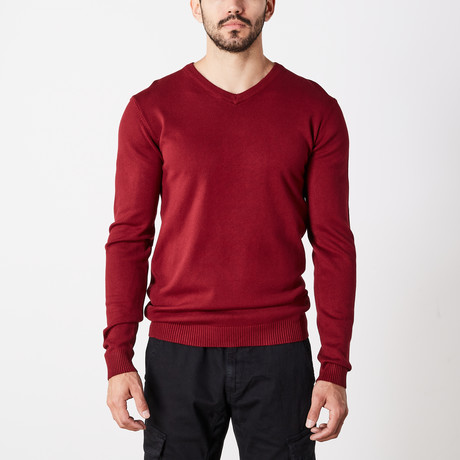 Slim V-Neck Sweater // Oxblood (S)