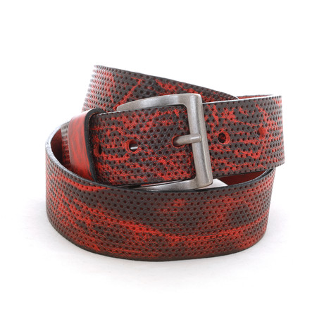 "Perforated Belt // Red (Size 32"")"