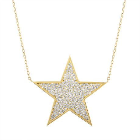 Estate 18k Yellow Gold Diamond Star Pendant Necklace