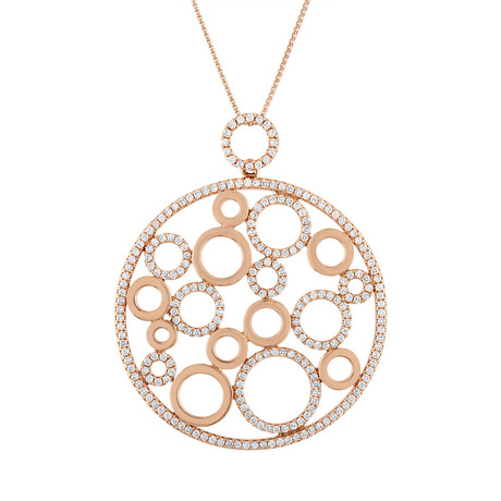 Estate 18k Rose Gold Diamond Pendant Necklace