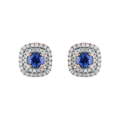 Estate 18k White Gold Diamond + Sapphire Earrings