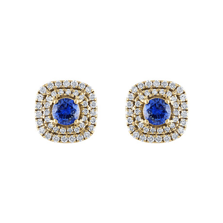 Estate 18k Yellow Gold Diamond + Sapphire Earrings