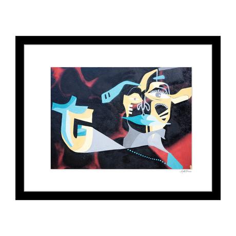 "Blue and Yellow Graffiti (14""W x 18""H x 4""D)"