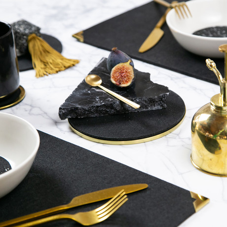 Rubber Placemat with Brass Corner (Royal)