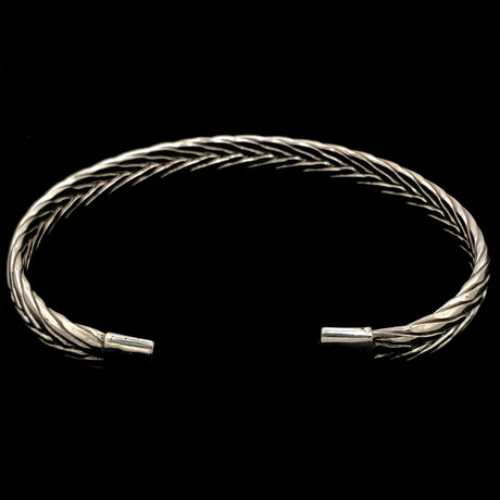 925 Solid Sterling Silver Foxtail Cuff Bangle