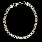 "Sterling Silver Round Box Link Braceket // 8""L"