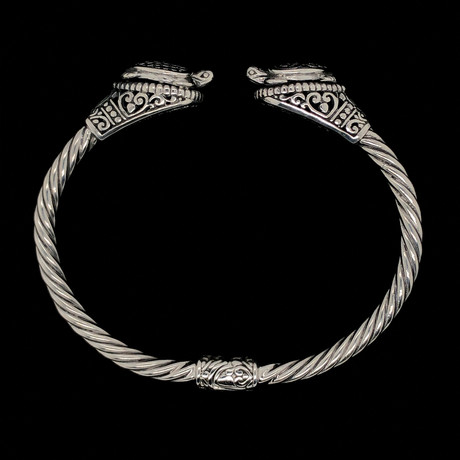 925 Solid Sterling Silver Twisted Cable Wire Retro Bangle Bracelet // Tortoise