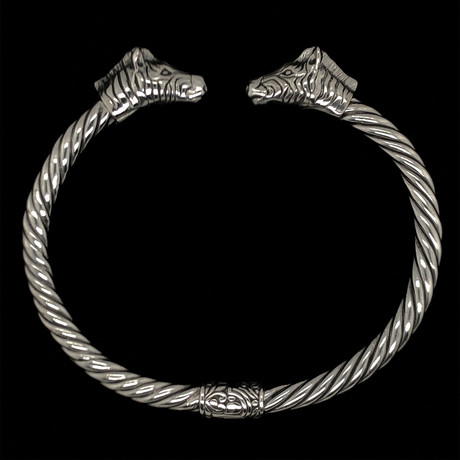 Sterling Silver Twisted Cable Wire Retro Bangle Bracelet // Zebra