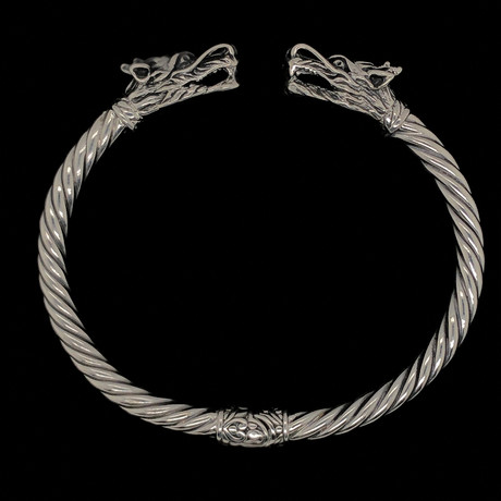 925 Solid Sterling Silver Twisted Cable Wire Retro Bangle Bracelet // Dragons Fire