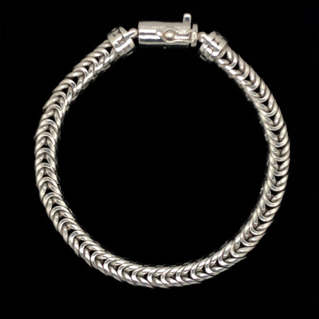 """Sterling Silver Open Franco Bali Bracelet // 8.5""""L"""