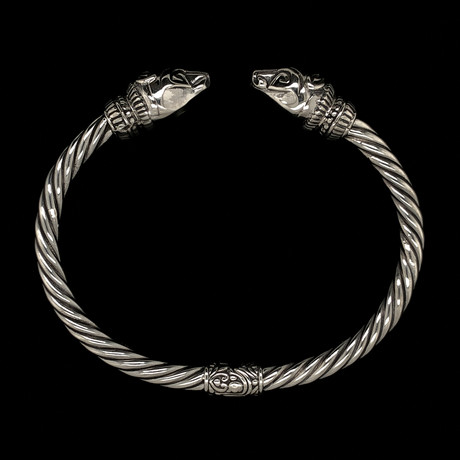 Sterling Silver Twisted Cable Wire Retro Bangle Bracelet // Bears Head