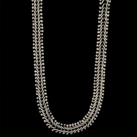 """Sterling Silver Beaded Basket Weave Link Necklace // 18""""L"""