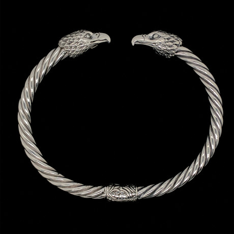 Sterling Silver Twisted Cable Wire Retro Bangle Bracelet // Eagles