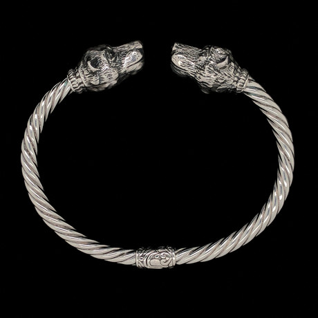 925 Solid Sterling Silver Twisted Cable Wire Retro Bangle Bracelet // Boars Head