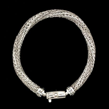"Sterling Silver Twisted Foxtail Link Bracelet // 8.5""L"