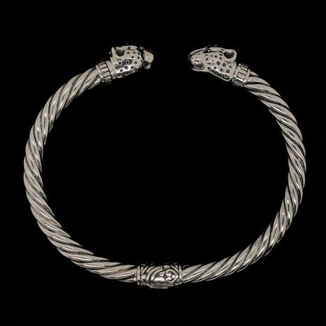 Sterling Silver Twisted Cable Wire Retro Bangle Bracelet // Jaguar