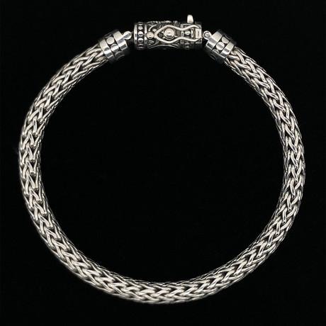 "Sterling Silver Interwoven Link Bali Bracelet // 8.5""L"