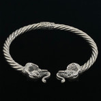 Sterling Silver Twisted Cable Wire Retro Bangle Bracelet // Elephante