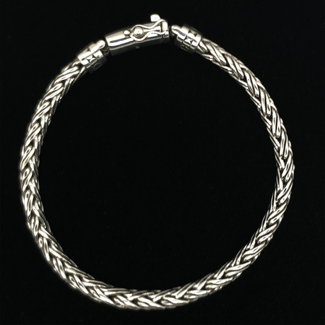 "Sterling Silver Braided Link Bali Bracelet // 8.5""L"