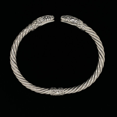 925 Solid Sterling Silver Twisted Cable Wire Retro Bangle Bracelet // Mamba