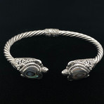 Sterling Silver Twisted Cable Wire Retro Bangle Bracelet // Abalone Tortoise