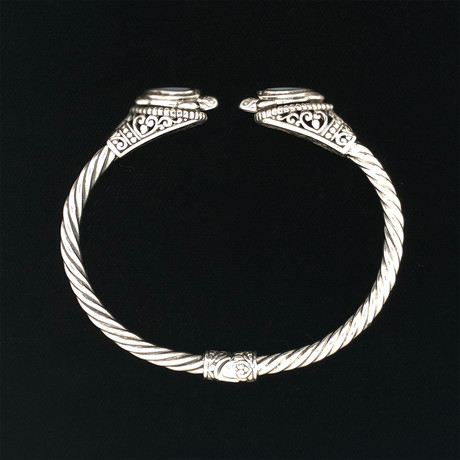 Sterling Silver Twisted Cable Wire Retro Bangle Bracelet // Mother of Pearl Tortiose
