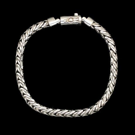 """Sterling Silver Swerving Snake Bali Bracelet // 8.5""""L"""