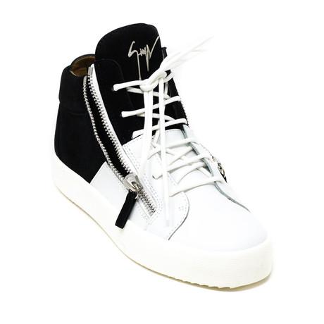 Giuseppe Zanotti // Hi-Top Zip Sneakers // Black + White (Euro: 39)