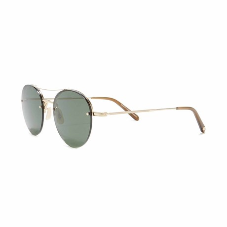 Beaumont Aviator Sunglasses // Gold + Green