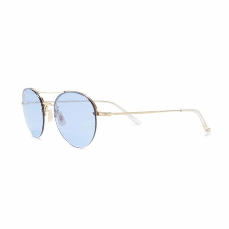 Beaumont Aviator Sunglasses // Gold + Blue
